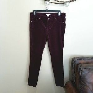 Maroon stretch corduroy skinny leg pants